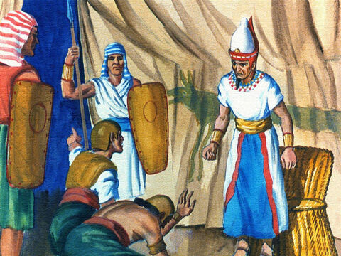 Pharaoh was told that somehow the Israelites were getting away; he shouted the orders to pursue them at once. – Slide 38