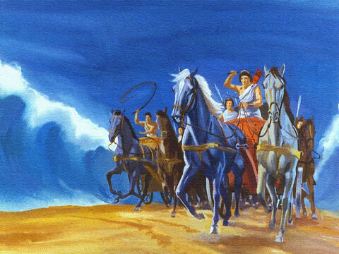 In no time at all, the entire Egyptian army was in pursuit and they followed the Israelites right into the passage prepared in the Red Sea. – Slide 39