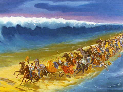 Just about then, the Lord caused all sorts of things to happen: the wheels came off the chariots, there was confusion and panic in the ranks of the Egyptian armies. – Slide 40