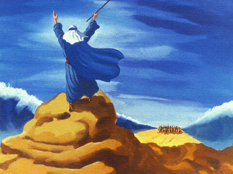 But it was already too late. God told Moses to stretch out his rod again over the sea. – Slide 42