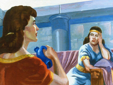 So one day she gathered up her courage and told her mistress about the prophet who lived in Israel, and what she felt could be done about this sorrow in their home. – Slide 8