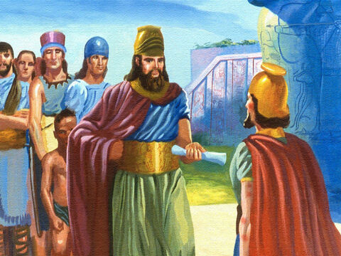 The king of Syria had never heard of Elisha the prophet, but the king felt sure that the ruler of Israel would know, so he gave Naaman a letter… – Slide 15