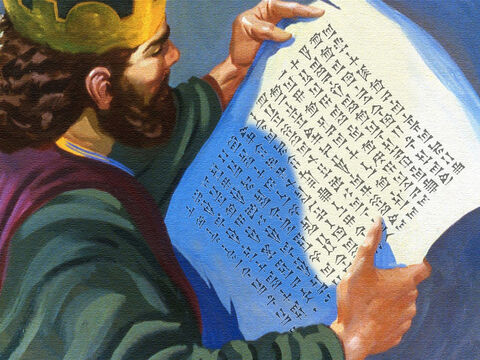 The king opened the letter of introduction and started to read, 'I have sent Naaman my servant to you, that you may cure him of his leprosy.' – Slide 22