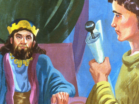 The king was still pondering the problem, when a servant came to the king with a message about Naaman from Elisha the prophet. – Slide 31