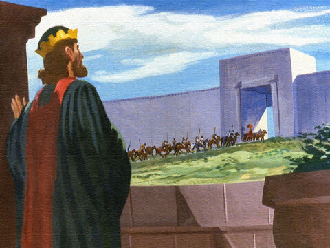 The caravan left the royal palace, on the trip to the home of Elisha the prophet. – Slide 34