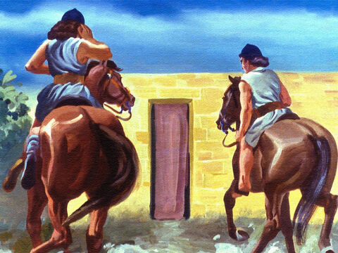Two of his men rode forward and shouted for someone to come out and meet their leader. – Slide 38