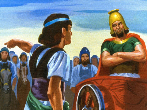 The servant went out to tell Naaman that if he went to the river Jordan, and washed himself seven times, he would be completely healed of his leprosy. – Slide 40