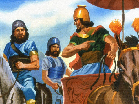 He ordered his men to leave at once. But some of the men with Naaman tried to reason with him about it. – Slide 43