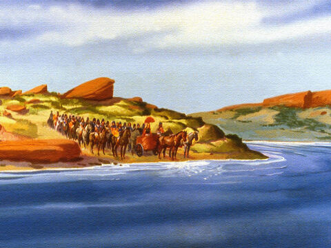 So Naaman and his men travelled on to the river Jordan. – Slide 45