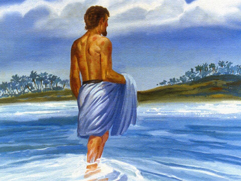 Naaman obediently waded into the water. – Slide 46