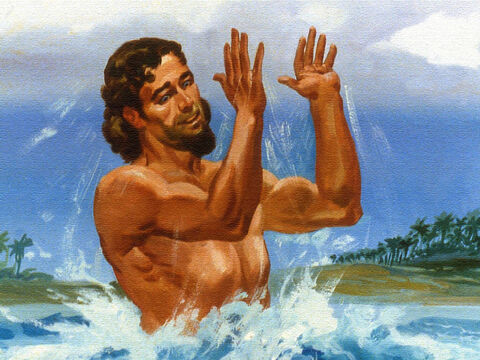 And when Naaman came up out of the water his shouts of excitement gave them their answer, 'My leprosy! It's gone!' – Slide 50