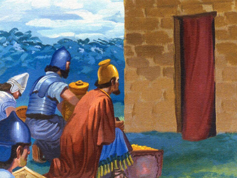 It was a humble group of men that returned to the small house where Elisha lived with the many gifts they had brought. – Slide 52