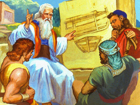 A huge boat was to be built and God had told Noah exactly how to build it. – Slide 14