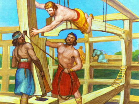 Now the building of the ark was no secret and the framework of the huge vessel attracted a lot of attention. – Slide 16