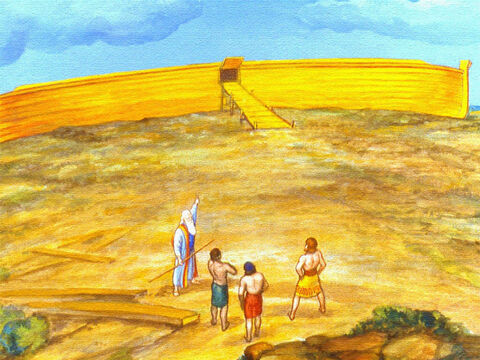 But the day finally came when the ark was completed. Then Noah set about doing the other things God had told him to do. – Slide 21