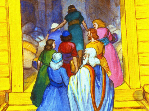When all of this was done. Noah, his sons and their wives all went into the ark. – Slide 24
