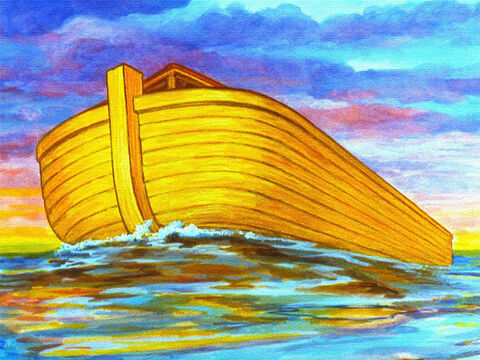 The waters began to go down and the ark began to settle, somewhere high above the mountains of Ararat. – Slide 39