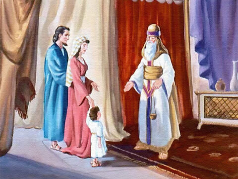 There at the temple they talked to Eli, the high priest. 'Take Samuel and train him to serve the Lord,' Hannah said. – Slide 10