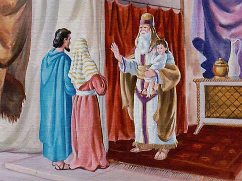 Now Eli was getting old and knew that he should begin to train someone to take his place some day, so he gladly took Samuel to live with him in God's house. – Slide 11