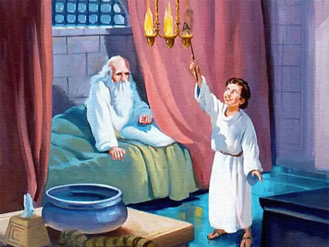 As time went by, Samuel was able to assume some important temple duties to help Eli. He opened and closed the doors and kept the lamps cleaned and filled and burning. – Slide 12