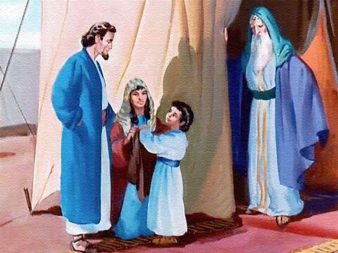 How pleased Samuel was to see his parents when they made a visit to God's house! Each year his mother brought him a new coat to wear over his simple linen gown. It was hard for Hannah to leave Samuel at the temple and go back to her home in the country... – Slide 13