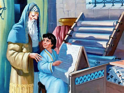 As Samuel grew older, Eli taught him to read the scrolls which contained the laws and history of God's people, the Israelites. – Slide 15