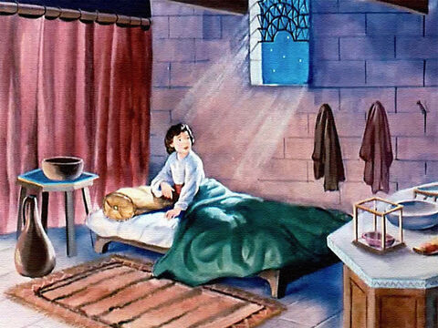 One night, as Samuel was asleep in bed, he was suddenly awakened by a voice calling, 'Samuel! Samuel!' He sat up quickly. Who was calling? It must be Eli! – Slide 17