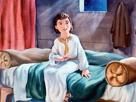 It wasn't long before the clear voice called the third time.  'Samuel! Samuel!' Again the boy ran into the aged priest's room. – Slide 23