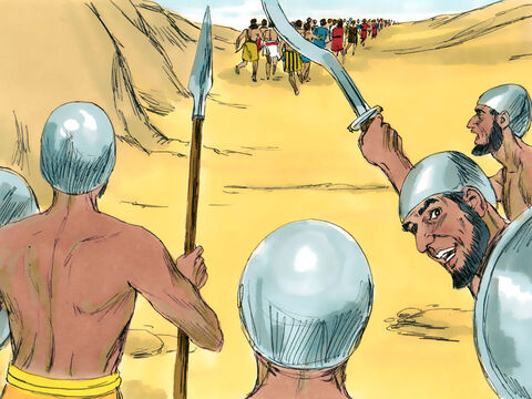 Exodus 17 v 8 A group of desert nomads, known as the Amelekites, came up behind the travelling Israelites and started attacking the weak and elderly people travelling at the back of the convoy. – Slide 1