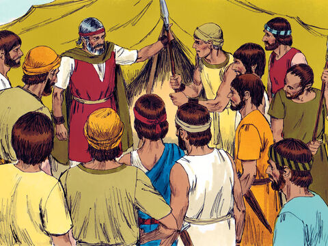 Moses told a young, tough leader called Joshua to choose some strong fighting men to go out and fight the Amalekites the following day. – Slide 2