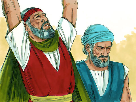 Moses, along with Aaron and a leader called Hur, went to the top of a hill to call on God's power in the battle. – Slide 4