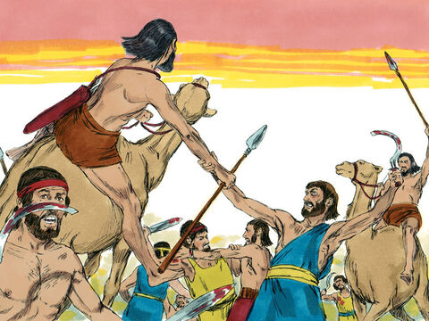 While Moses' hands were held high, Joshua and his men began winning the battle. – Slide 6
