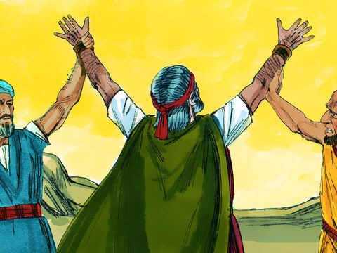 As Moses became exhausted, Aaron and Hur sat him on a large stone and helped him keep his hands high. They supported him all through the day until sundown. – Slide 9