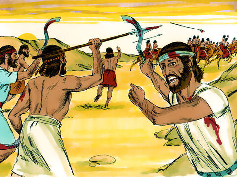 Joshua and his men fought victoriously all through the day as Moses' hands were kept high. – Slide 10