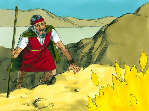So Moses decided to take a closer look. Suddenly God called to him from inside the burning bush, 'Moses.' 'Here I am Lord,' Moses replied. – Slide 3