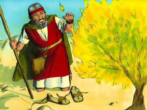 God told Moses to take off his shoes for he was on holy ground. 'I am the God of Abraham, Isaac and Jacob,' God announced. At this, Moses hid his face for he was afraid to look at God. – Slide 4