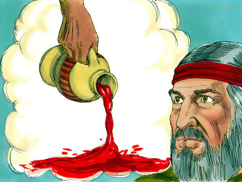 'If the Hebrew leaders don't believe these two signs then take some water from the Nile and pour it on the dry ground. I will make the water turn to blood,' the Lord told Moses. – Slide 17