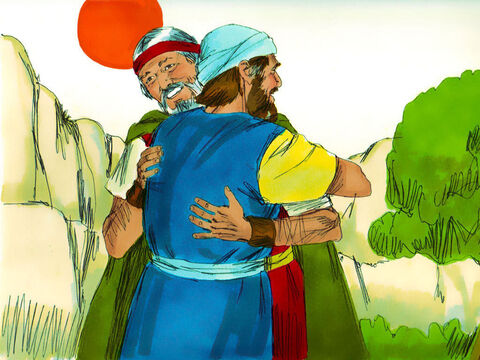 The two brothers met up at Mount Horeb, the mountain of God, and welcomed each other. – Slide 23