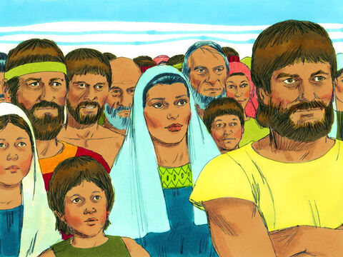 The thirsty crowd grumbled angrily to Moses, 'What are we going to drink?' – Slide 4