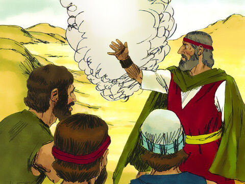 Aaron told the crowd to come before God. As they looked toward the desert they saw the glory of the Lord appearing in the cloud. The Lord promised Moses He was sending meat that evening and bread in the morning. – Slide 16