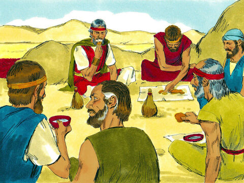 That evening a large flock of birds called quail landed near the camp. The hungry people caught them and ate the delicious meat. – Slide 17