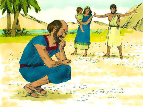 The next morning there was a layer of dew on the ground which dried up and became like thin flakes of frost on the ground. 'What is it?' they asked Moses. The Hebrew word for 'what is it?' is 'manna'. – Slide 18