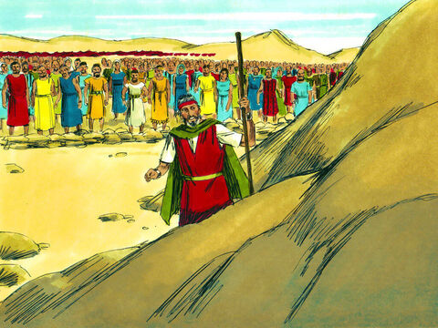 The leaders followed Moses to the rock at Horeb and watched as he struck it with his staff. – Slide 30