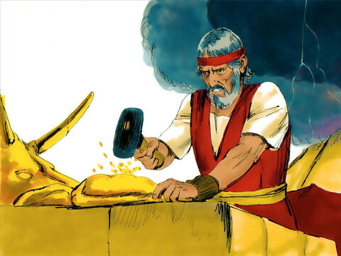 Moses took the calf the people had made and burned it in the fire. Then he ground it to powder, scattered it on the water and made the Israelites drink it. – Slide 15