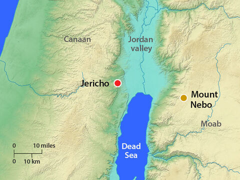 Moses climbed from the plains of Moab to Pisgah Peak in Mount Nebo, across from Jericho. God pointed out to Moses places in the Promised Land including the Jordan Valley and Jericho. – Slide 14