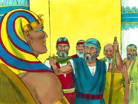 """Exodus 5 v 1-22 Then Moses and Aaron went to Pharaoh. 'The God of Israel says, """"Let my people go so they can worship me in the wilderness.""""' – Slide 2"""