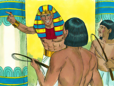 The same day, Pharaoh gave orders to the slave drivers to make the Hebrews work harder. They were no longer given straw to make bricks but had to collect their own straw while still making as many bricks as before. – Slide 4