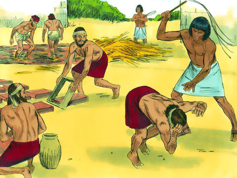 The slaves became exhausted searching for straw and making bricks. When they could not make their quota the slave drivers beat them. – Slide 5