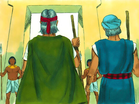Exodus 7 v 1-6 God told Moses that Aaron would be spokesman. He warned that Pharaoh would not listen to them but God would bring plagues on the Egyptians until they let His people go. Moses (now 80 years old) and Aaron (83) left for the palace. – Slide 11