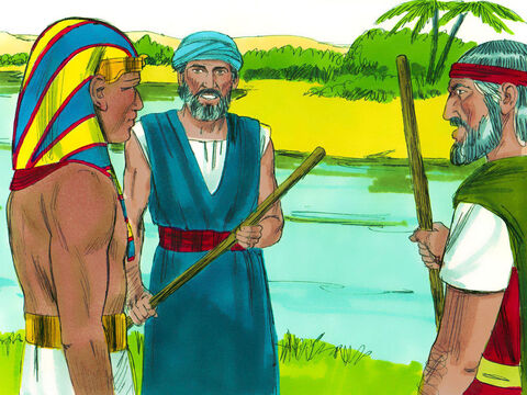 Exodus 7 v 8-12 God told Moses and Aaron to go down to the River Nile where Pharaoh went in the morning. They had a message from God to give to Pharaoh, 'Let my people go, so that they may worship me in the wilderness.' Pharaoh refused. – Slide 1